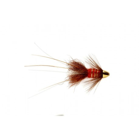 "V Fly Red Francis Brass 1"" Conehead Salmon Tube Fly"