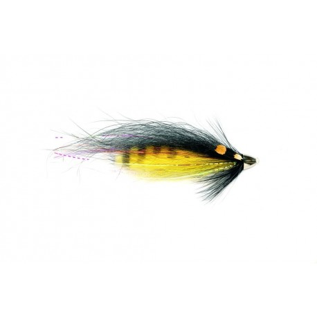 "V Fly Tiger Tail Black And Yellow 3/4"" Salmon Tube Fly"
